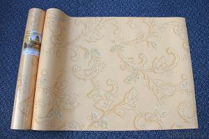 Golden Wallpaper Deep Embossed PVC Wallpaper 1.06X15m
