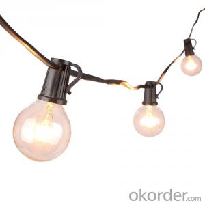 25ft G40 Clear Globe Bulbs Patio String Lights Werproof End to End
