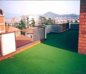 Green artificial lawn used on the roof