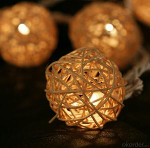 Metal House and Rattan Ball Light String for Outdoor Indoor Christmas Holiday Decoration
