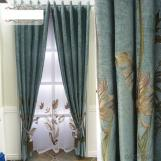 New chenille linen embroidered curtain blackout fabric
