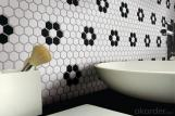 "1"" Hexagon Ceramic Mosaic Tile White and Black Floor"