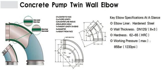 Buy Concrete Pump Twin Wall Parts DN125*R500 Elbow Pipe
