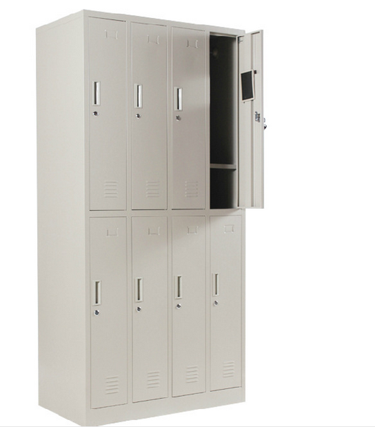 Metal Locker Steel Cabinet Office Furniture School Use Glass Double Door with Drawer Multi-layer