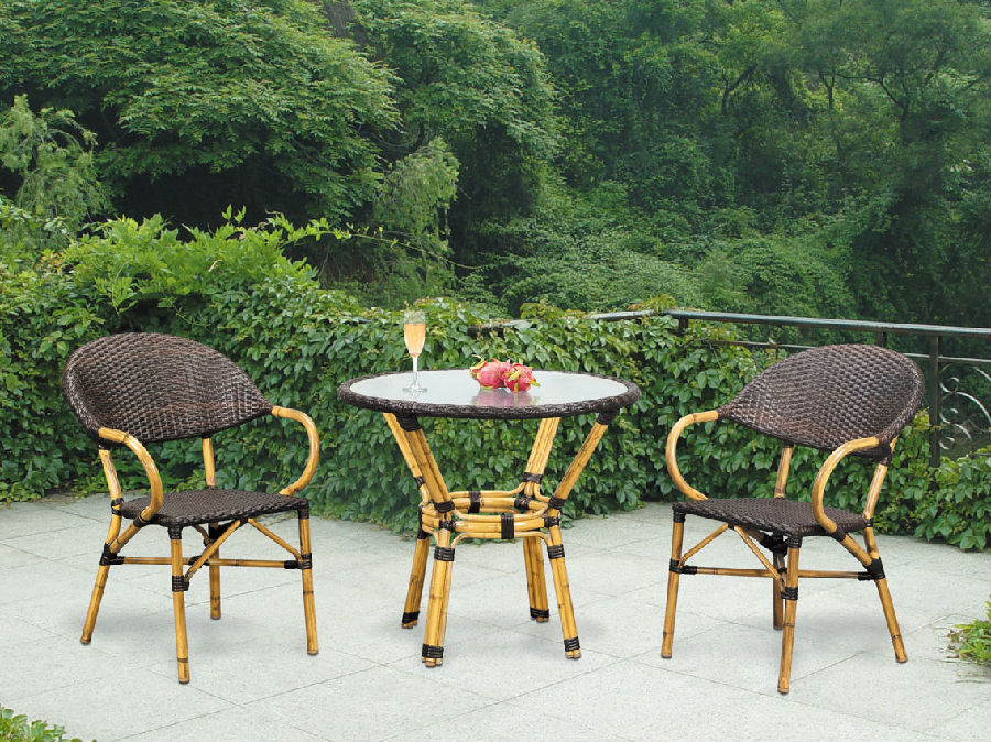 Metal Furniture and Rattan Garden Dining Chair with Table