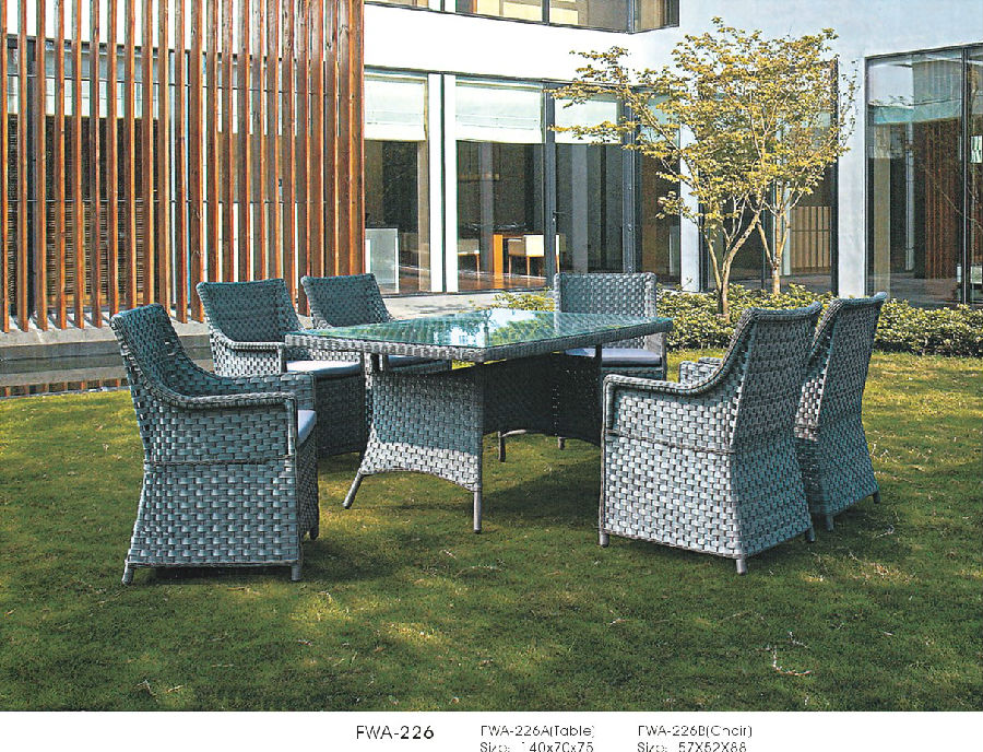 Garden Rattan Dining Set Outdoor Table with Chair Patio Wicker