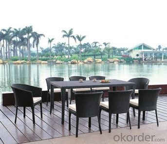 Outdoor Furniture & Seater Black Rattan Dining Set