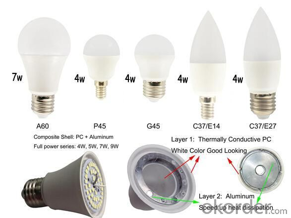 CE A60 E27 led bulbs 9W $1.6 big promotion led lights bulb PC+Aluminum body with two years warranty