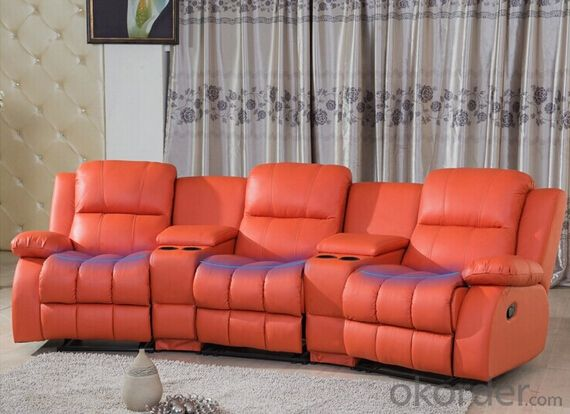 Functional Sofa by Manual Recliner and Genuine Leather