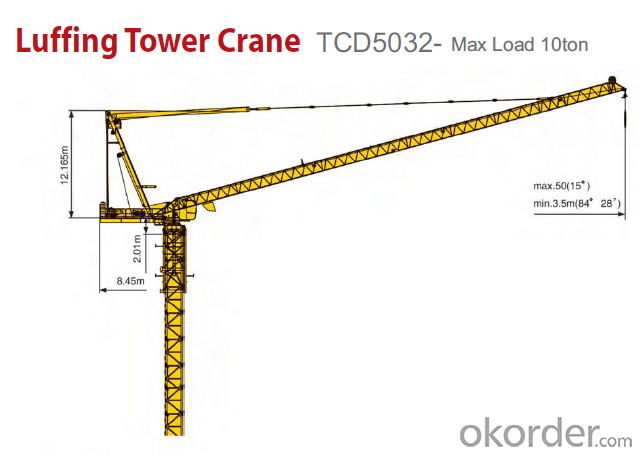 Buy Luffing Tower Crane TCD5032 Max Load 10T Price,Size
