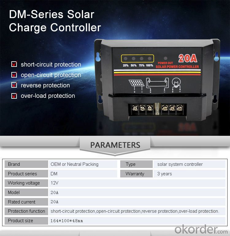Solar Controller with Best Price Hot Selling Model DM120A