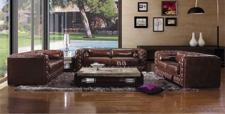 Genuine Leather Sofa, Classic Design,Crystal Button