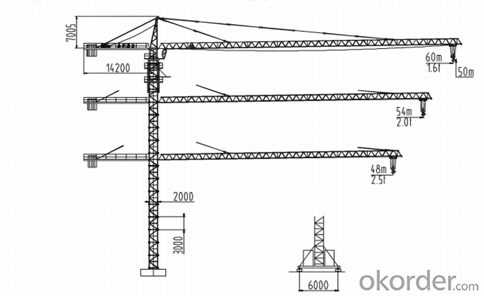 10T topless tower crane / tower crane with competitive price
