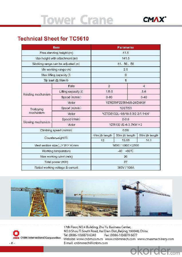 top quality tower crane with CE ISO certificate TC5610