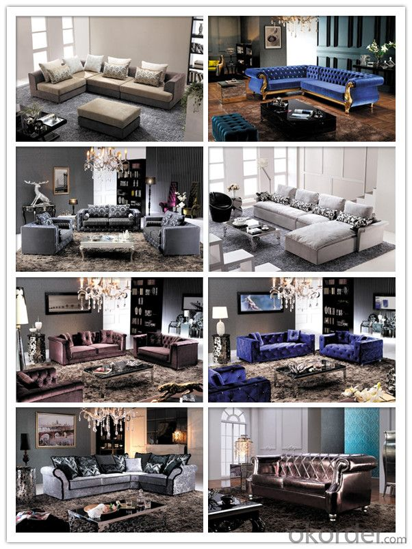 Living Room Sofa Set Fabric Material Velour Model 827