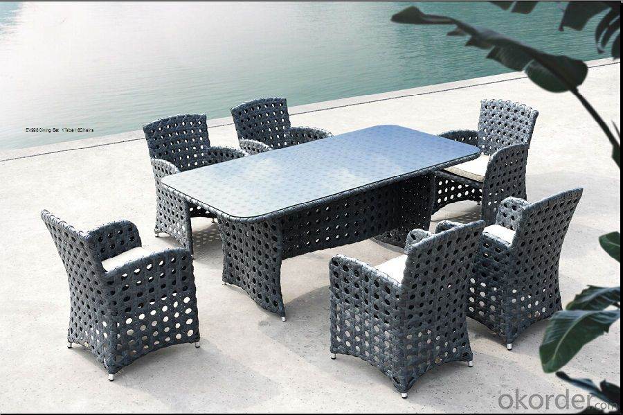 Outdoor Wicker Dining Set Patio Table with Chair in Rattan