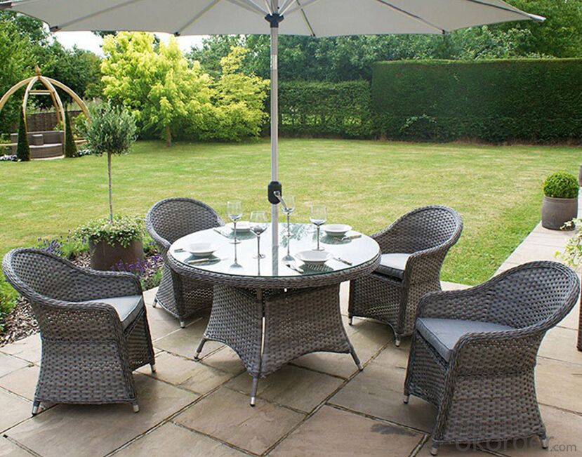 Patio Table Outdoor Wicker Dining Set  with Chair in Rattan