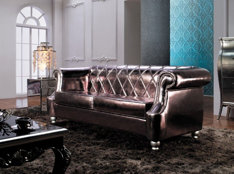 Classic Style Leather Sofa for Living Room