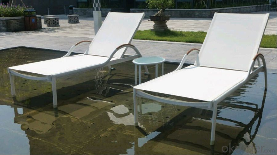 Funiture Outdoor Sun Lounger with PVC PP Wood Material
