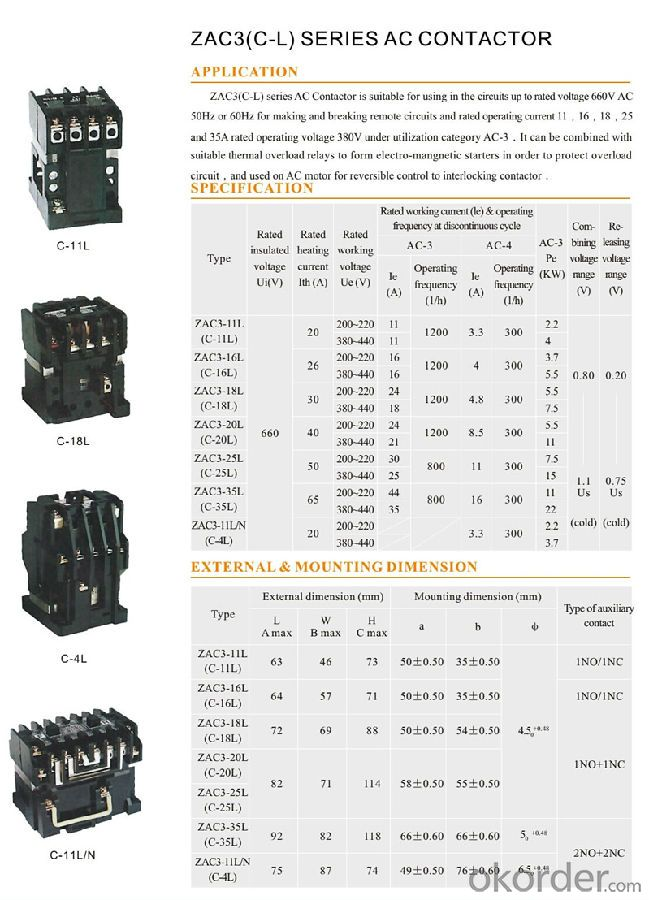 ZAC3(C-L) Series Three Phase AC Coil Magnetic Electric Contactor