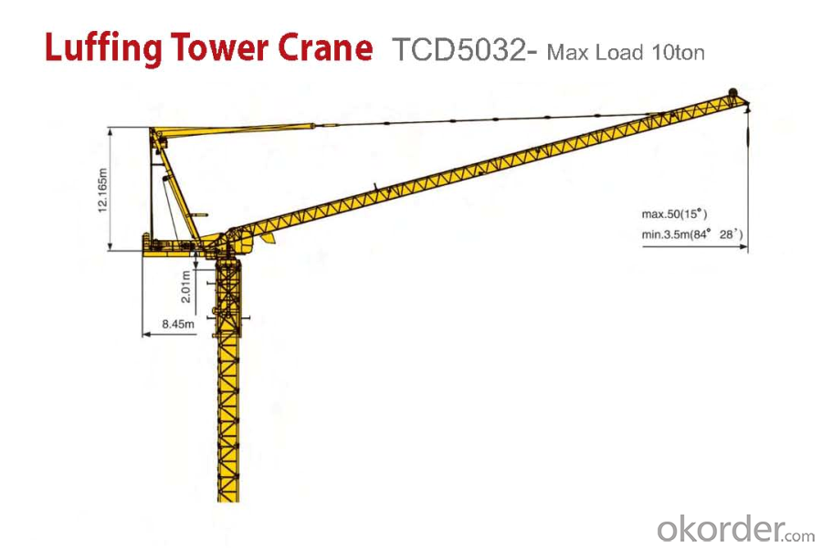 Buy TCD5032 10T Wire Rope Luffing Marine Crane Price,Size,Weight ...