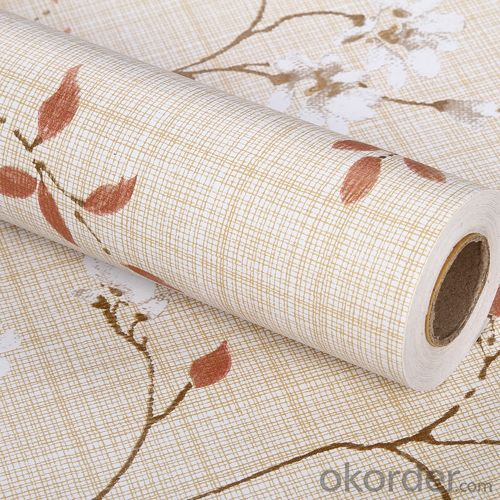 Self-adhesive Wallpaper Decorative Design with Leaves Economical Cheap PVC Wallpaper