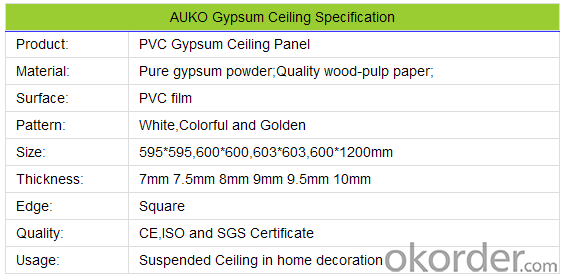 Square Hole Perforated Wooden PVC  Facing Gypsum Ceiling
