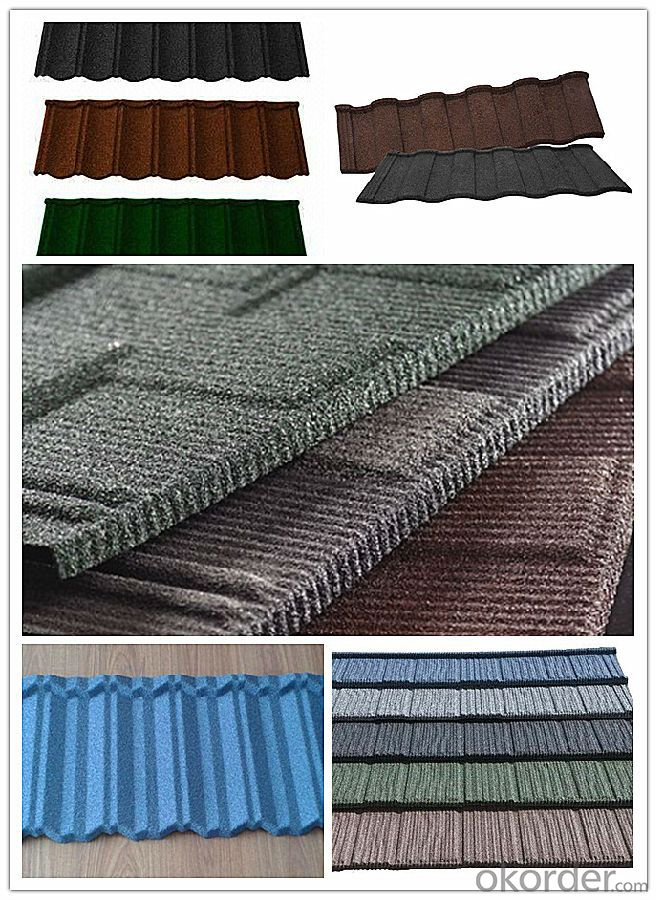 Wood Shingle Series/ Grid  Mixed Color Stone Coated Steel Roofing tiles/0.4mm metal roofing sheet