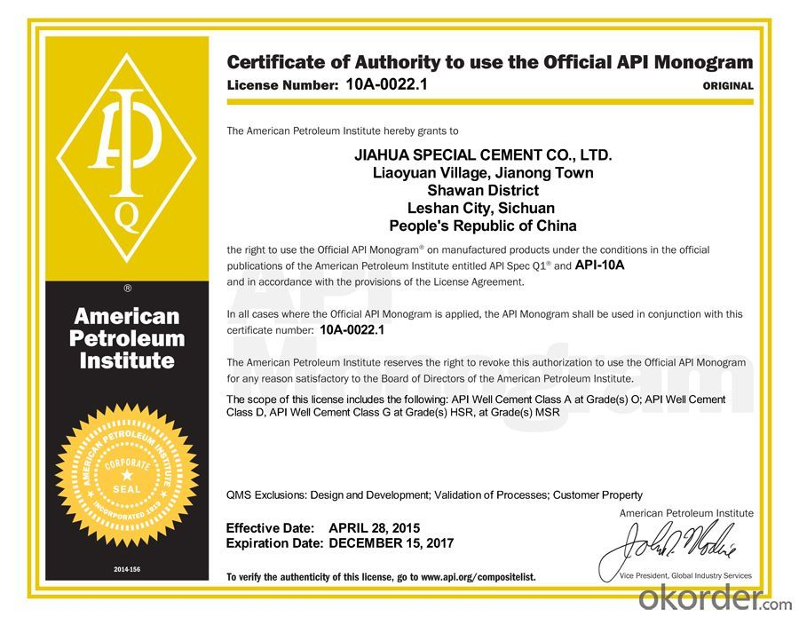 Class H Oil Well Cement with API Certification