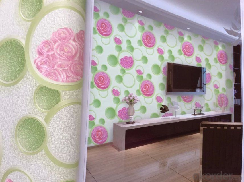 PVC Wallpaper 2015 Style of Painting Country Design Modern Flower PVC Wallcoverings