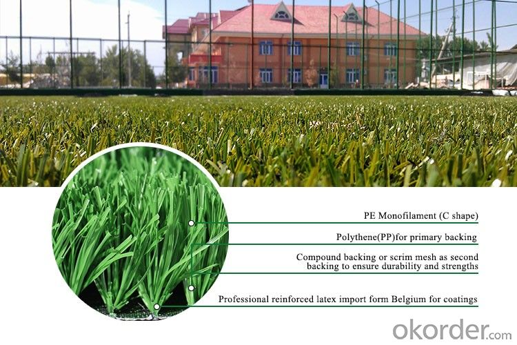 Outdoor Waterproof Brazilian Green Thick Synthetic Sport Soccer Football Artificial Turf Grass