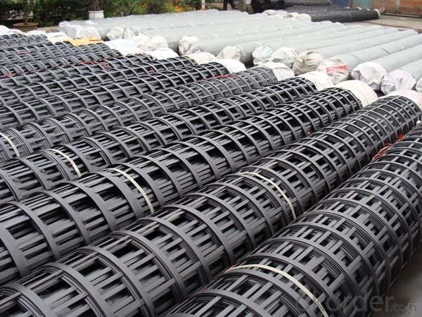PP Unxial Geogrid/ Fiberglass Geogrid with High Strength