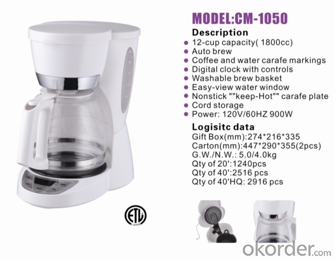 12-cup drip coffee maker with PCB CM-1050