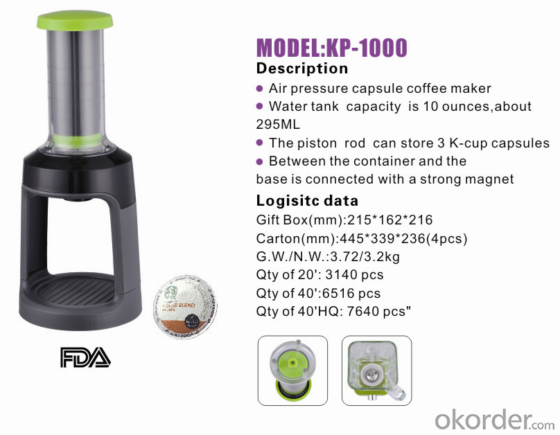 Air pressure capsule coffee maker KP-1000