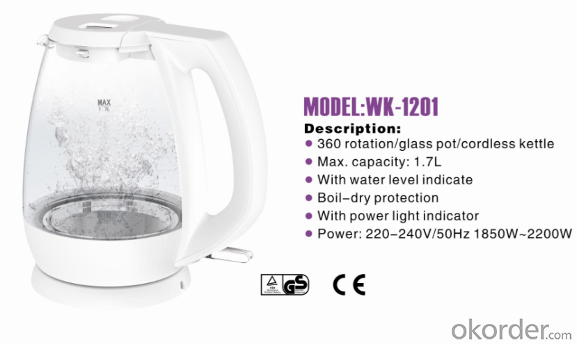 360 rotation electric kettle with glass pot  WK-1201