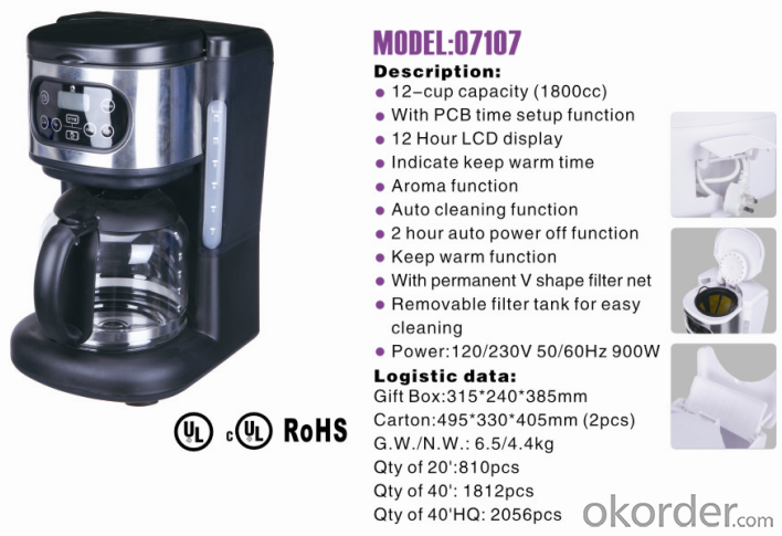 12-cup America style drip coffee maker -07107
