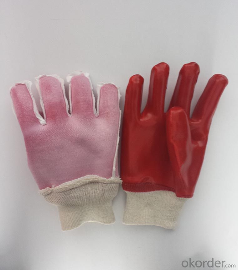 M101-01 red terylene liner PVC Coated smooth knit wrist glove for working
