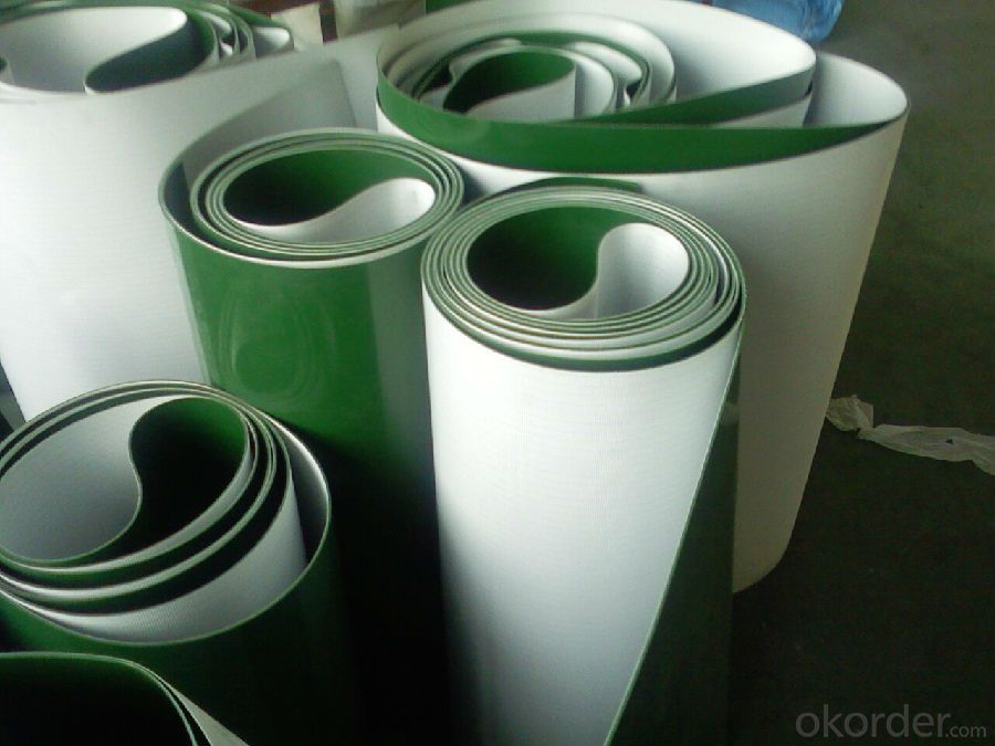 Light Weight PVC Conveyor Belt in Green/White/Blue
