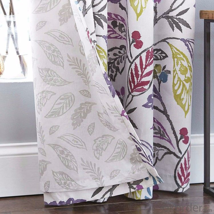 Flower Printed Lined Eyelet Curtains
