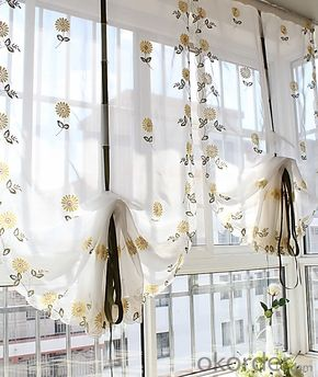 print flowers roman curtain of window blind