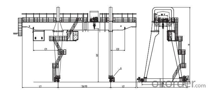 A-Leg Double Girder Gantry Crane with Hook Cap.Cap.5~75t/20t