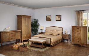 Solid Wood Bedroom Furniture Set with Elm Natural Oak Color