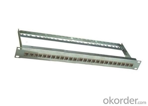 buy 24 port cat6 shielded path panel with support bar