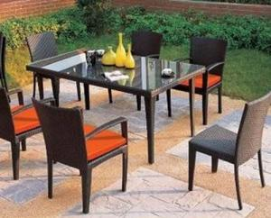 Aluminum Rattan Dining Table Set  DT030