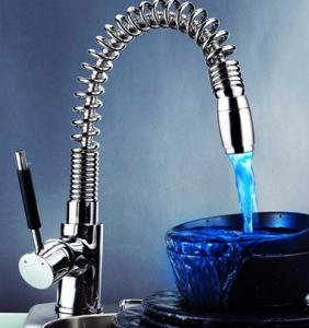 Unique Design Temperature Control Colour Changing Led Bath Faucets Zinc Alloy Handle Basin Mixer