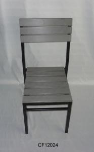 Outdoor Iron and Wood Plastic Board Big Square Chair