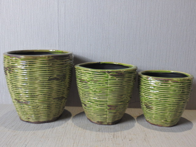 Hot Selling New Design Home Decorative Ceramic Light Green Weaving Style Flowerpot L