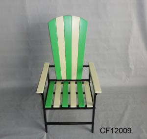 Classical Outdoor Furniture Iron and Solidwood Green Children Chair