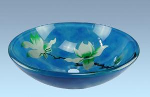 Hot Selling New Design Bathroom Product Tempered glass Light Blue Flower Washbasin