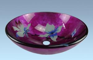 Hot Selling New Design Bathroom Product Tempered glass Flower Pattern Washbasin